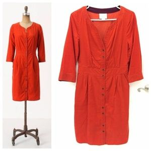 Anthropologie Maeve Anaheim Orange Corduroy Dress